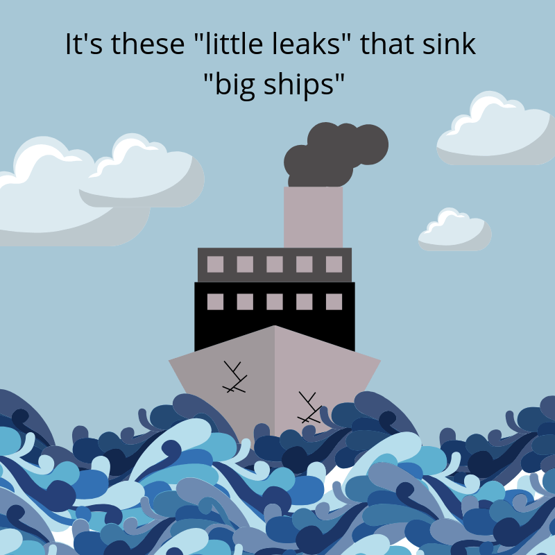 """Illustration of ship with cracks in ocean with a quote above that says """"It's these 'little leaks' that sink 'big ships'"""""""