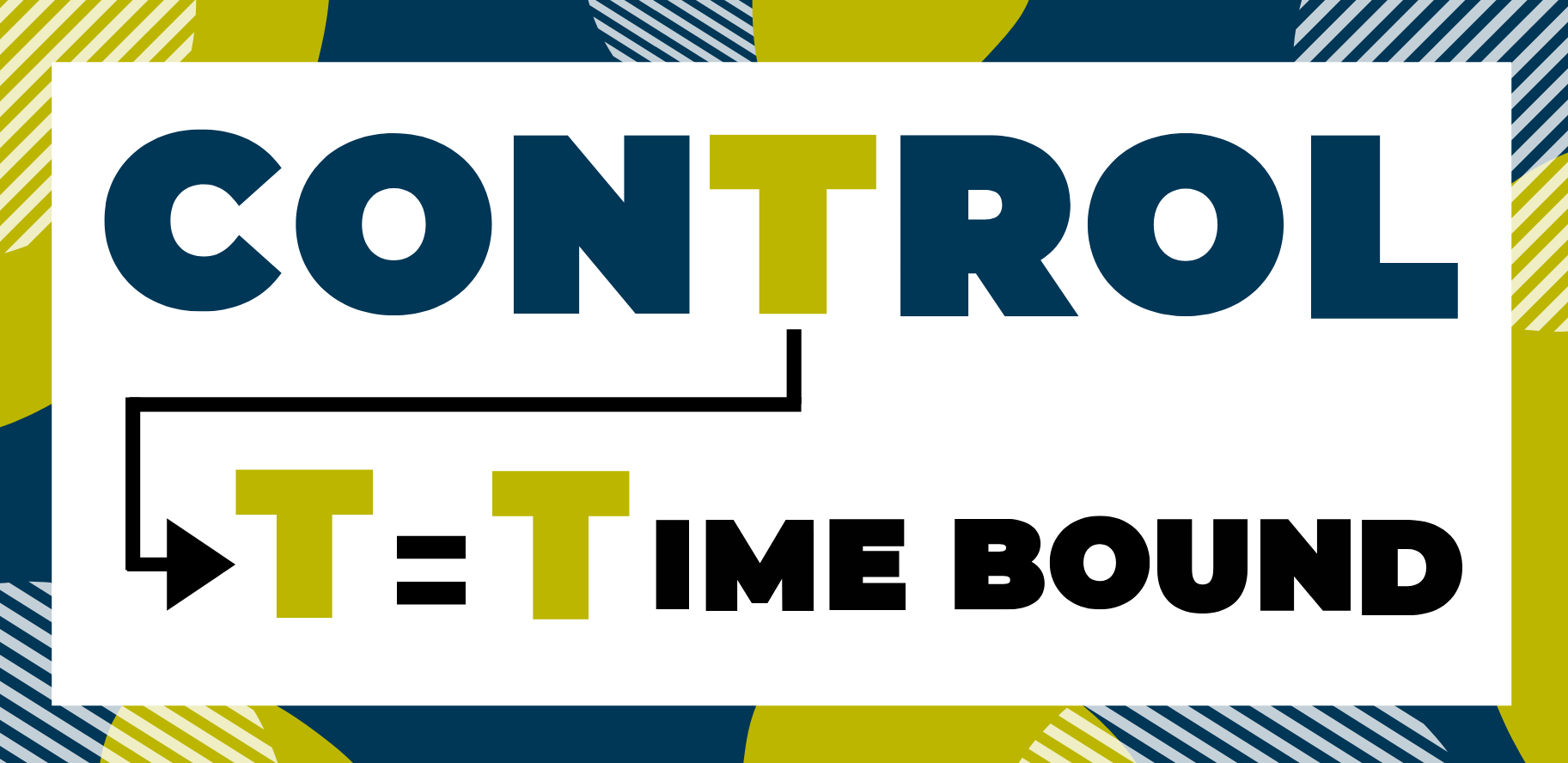 Letter t in control. T = Time bound.