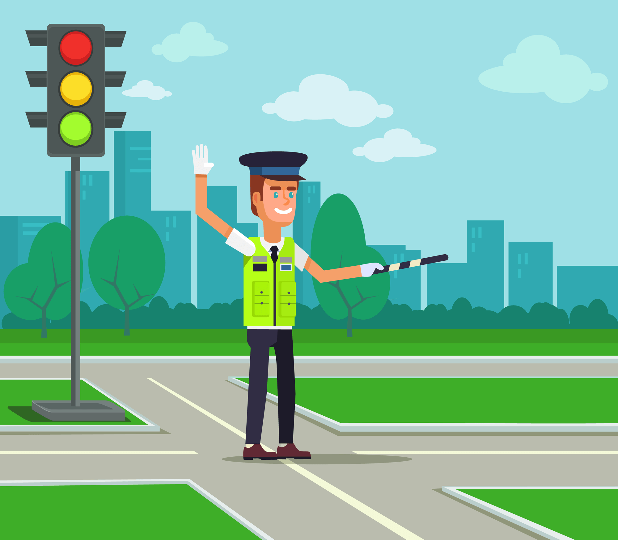 Illustration of a traffic controller.